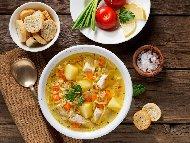 Обикновена бяла пилешка супа с фиде и ориз без застройка